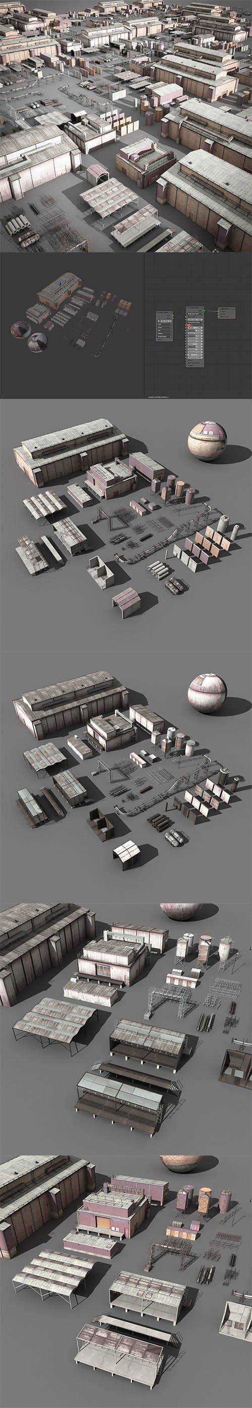 lowpoly buildings industry Low-poly 3D model