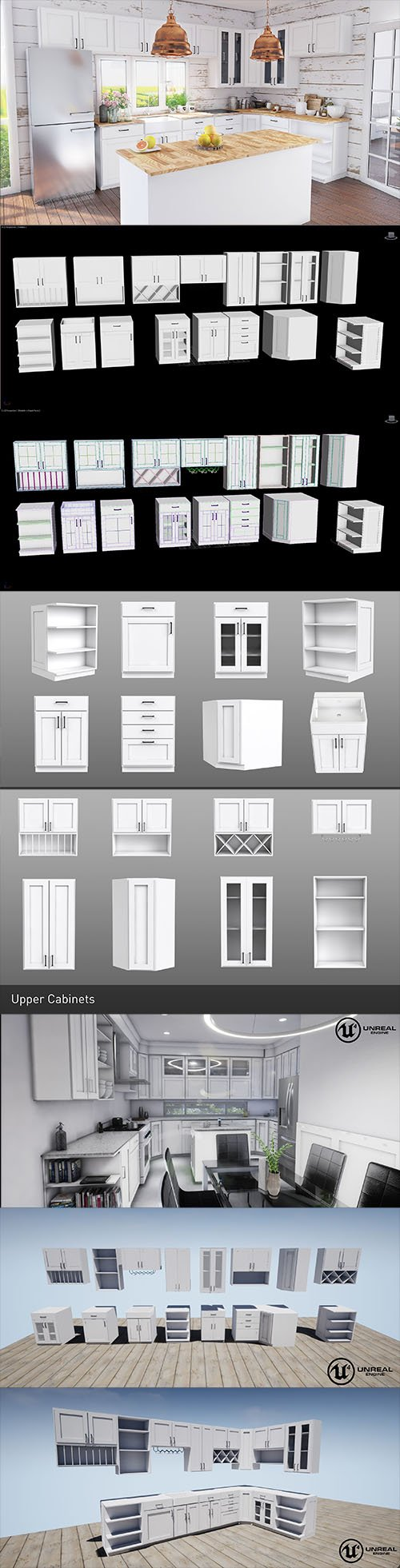 Vray and UE4 Shake Style Cabinets - 16 modular models Low-poly 3D model