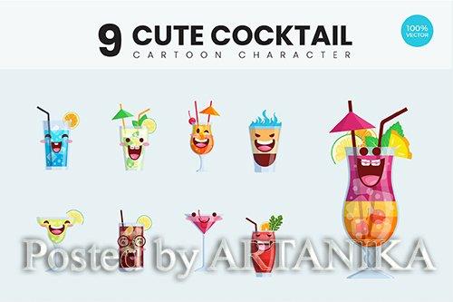 9 Cute Cocktail Drink Vector Illustration Vol.1