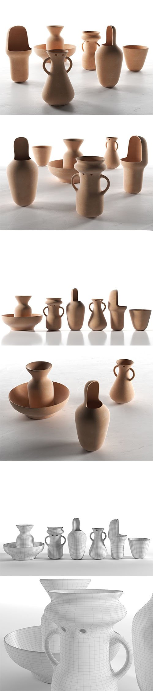 Gardenias Vases 3D model