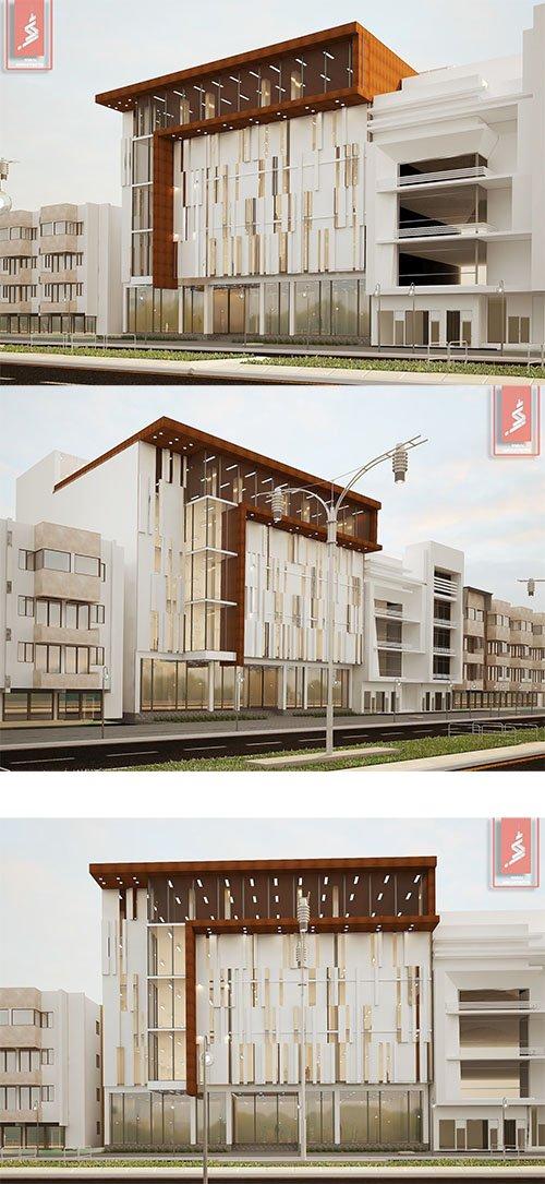 comercial modern building muilty store 3D model