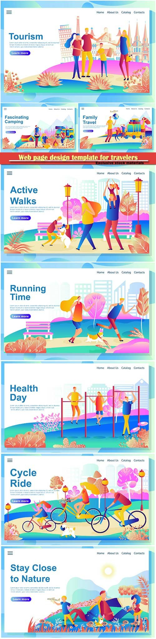 Web page design template for travelers visiting different countries