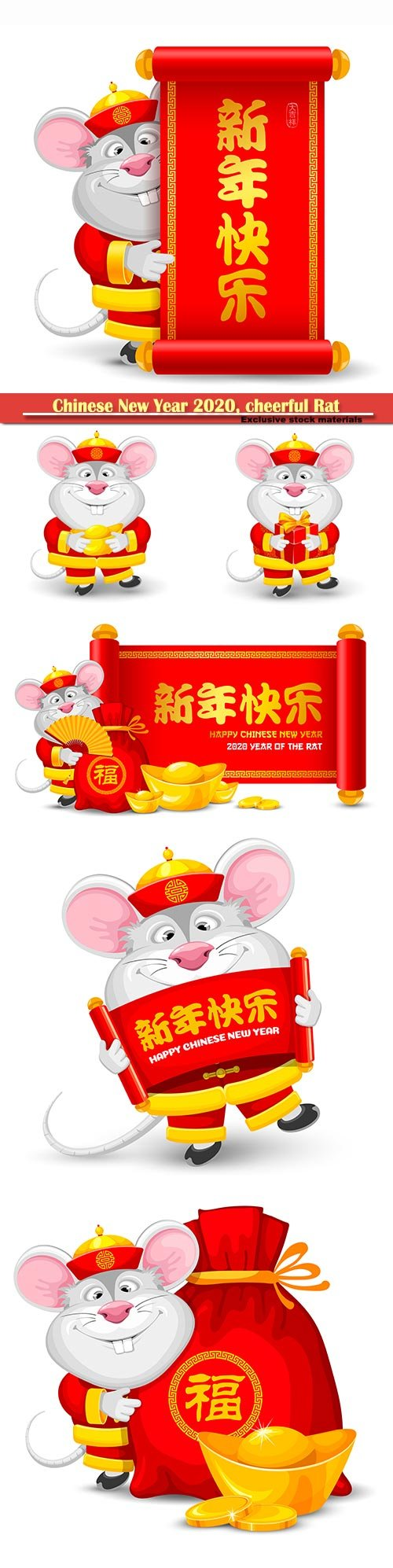 Chinese New Year 2020, cheerful Rat as symbol of new 2020 year