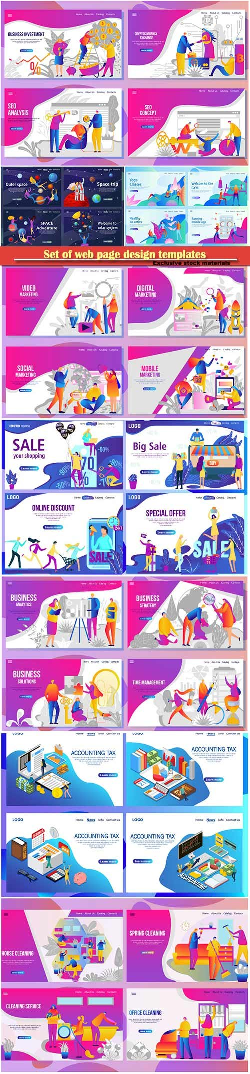 Set of web page design templates for business, vector illustration concepts for website