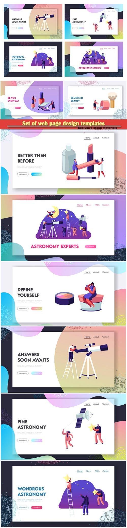 Set of web page design templates vector illustration concepts for website