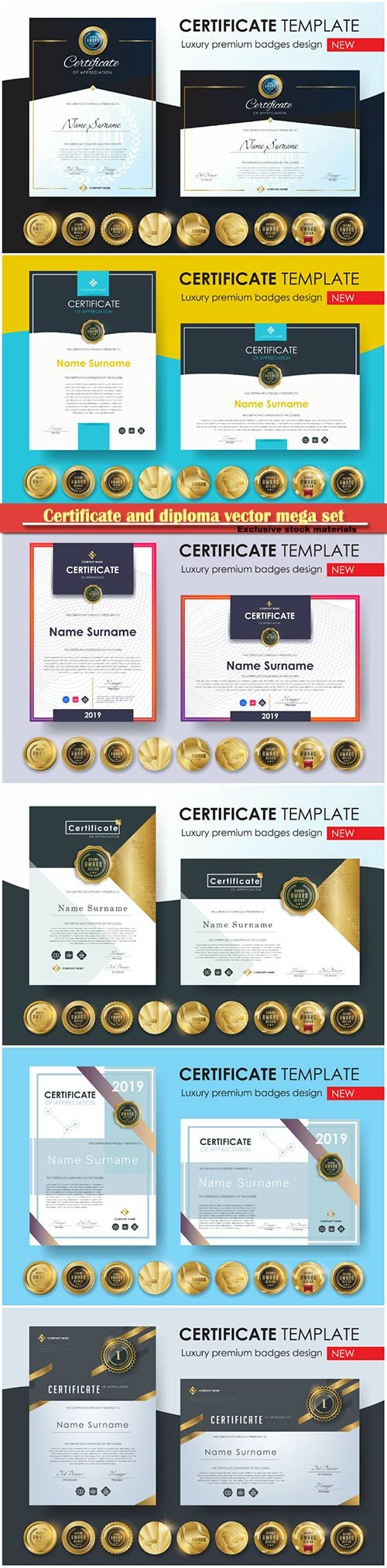 Certificate and diploma vector mega set # 4