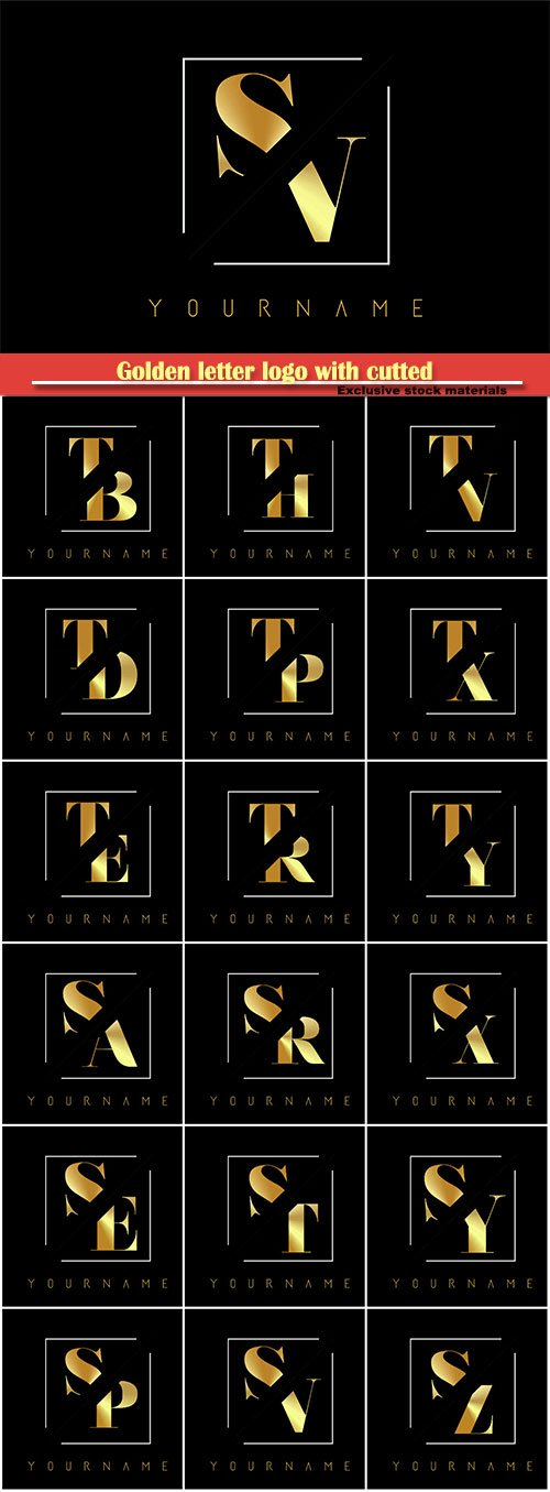 Golden letter logo with cutted and intersected design # 5
