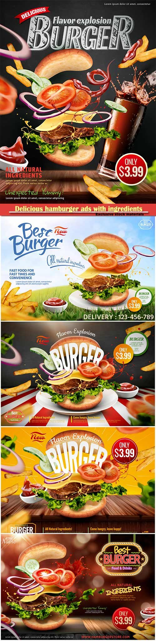 Delicious hamburger ads with ingredients flying in the air on chalkboard background in 3d illustration