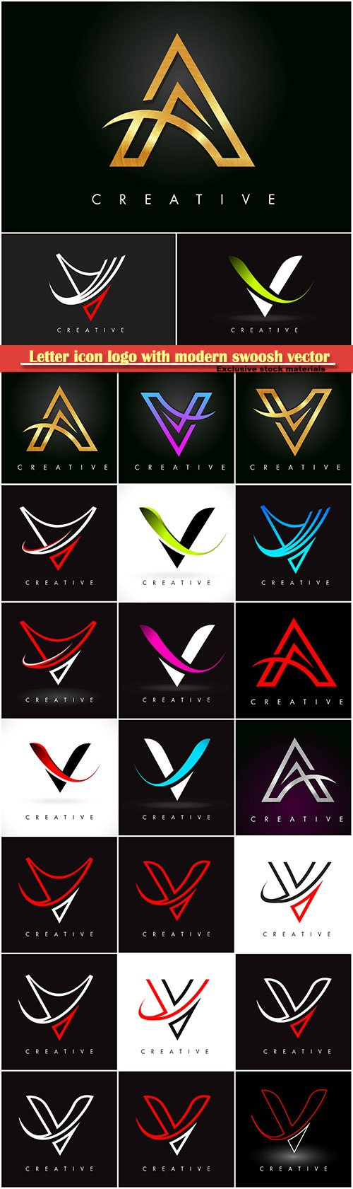 Letter icon logo with modern swoosh vector illustration