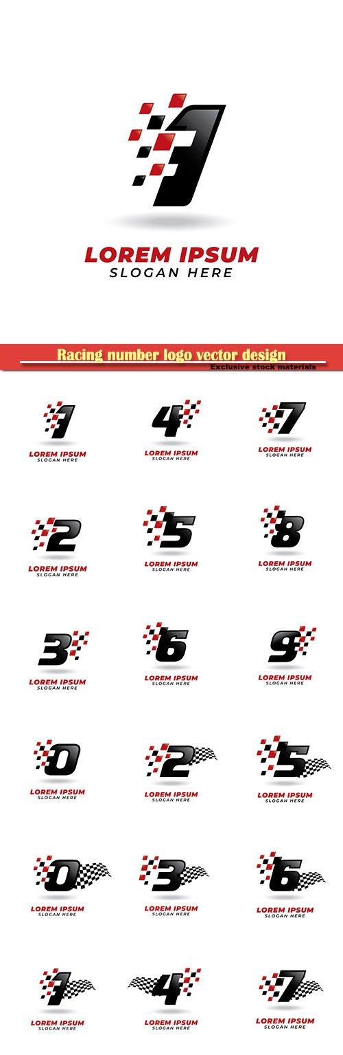 Racing number logo vector design