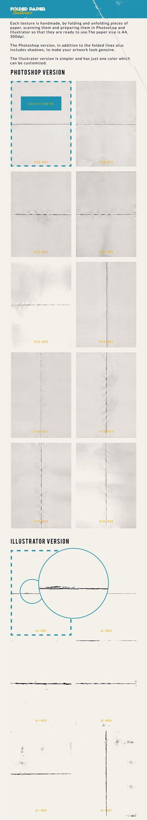 10 Handmade Folded Paper Textures in Vector