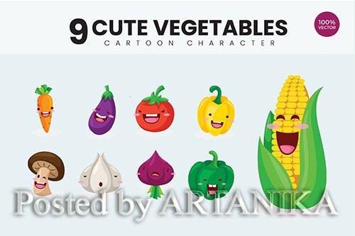 9 Cute Organic Vegetables Vector Illustration 1
