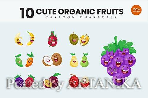 10 Cute Tropical Fruit Vector Illustration Vol.1