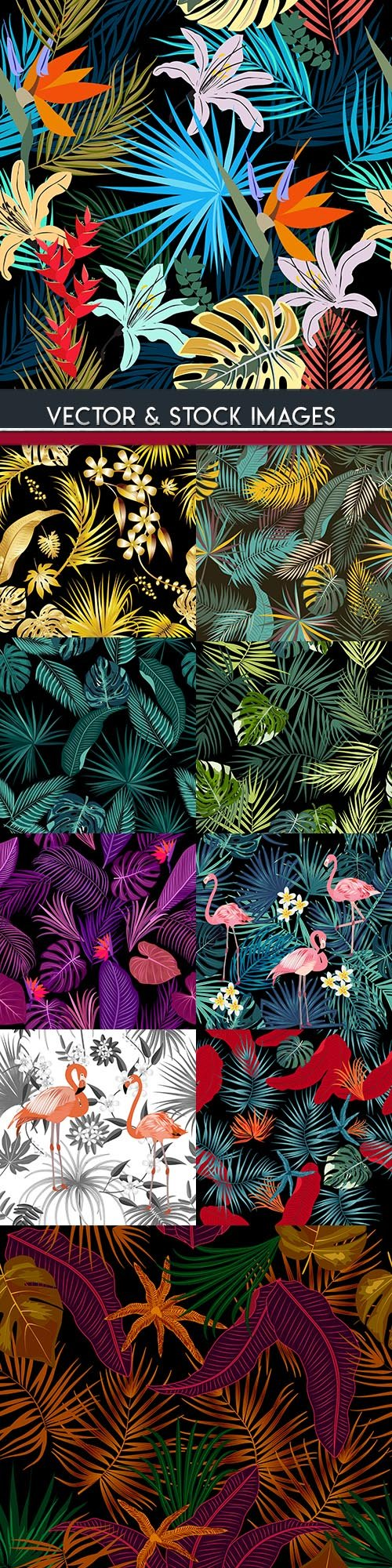 Tropical exotic floral leaf seamless pattern design