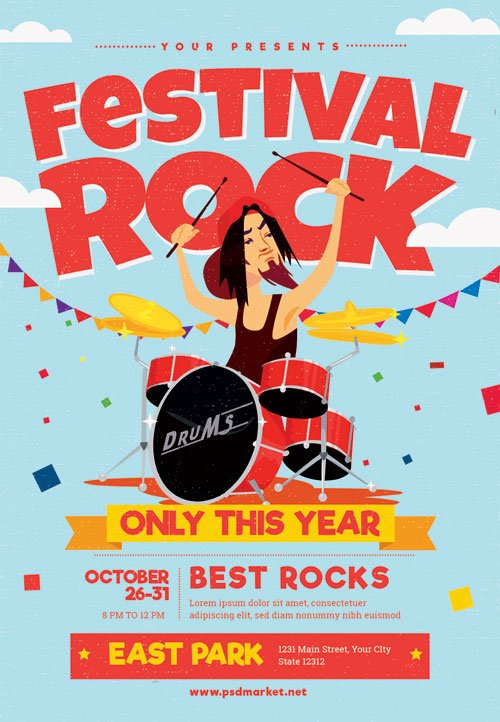 Rock festival - Premium flyer psd template