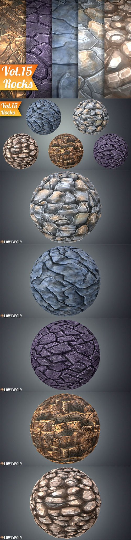 Stylized Rocks Vol 15 - Hand Painted Texture Pack Texture