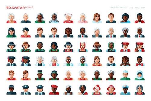 60 Avatar Vector Icons