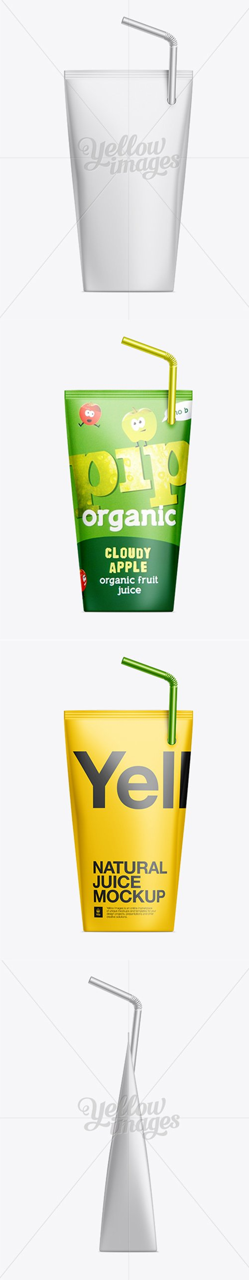 200ml Juice Package with Straw Mockup 10100 TIF