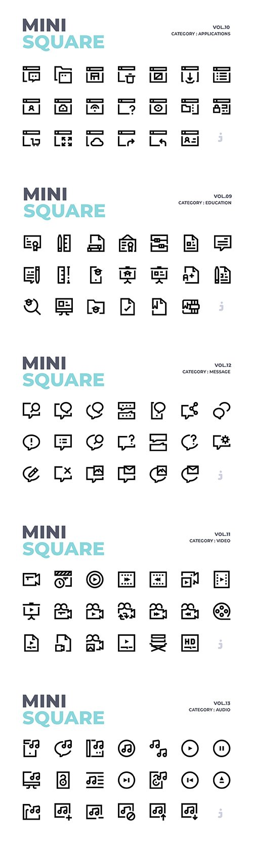 Mini square - 300 Education, Applications, Video, Audio and Message Icons Vector Pack