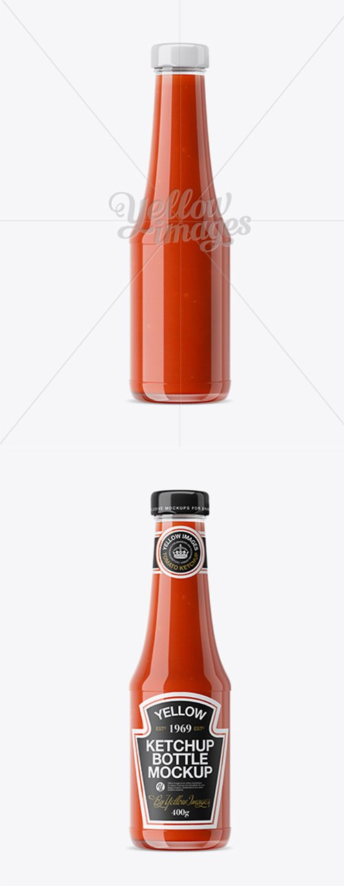 Clear Glass Tomato Ketchup Bottle Mockup 19004 TIF