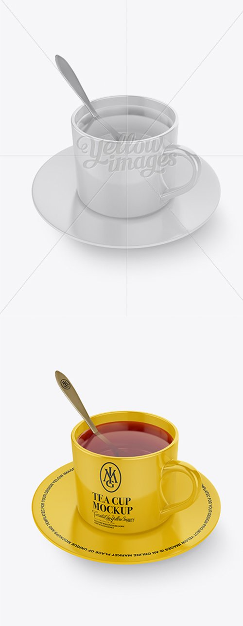 Glossy Cup & Saucer With Filing Mockup (High-Angle Shot) 18124 TIF