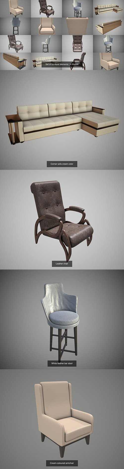Set of furniture elements 3D Model Collection