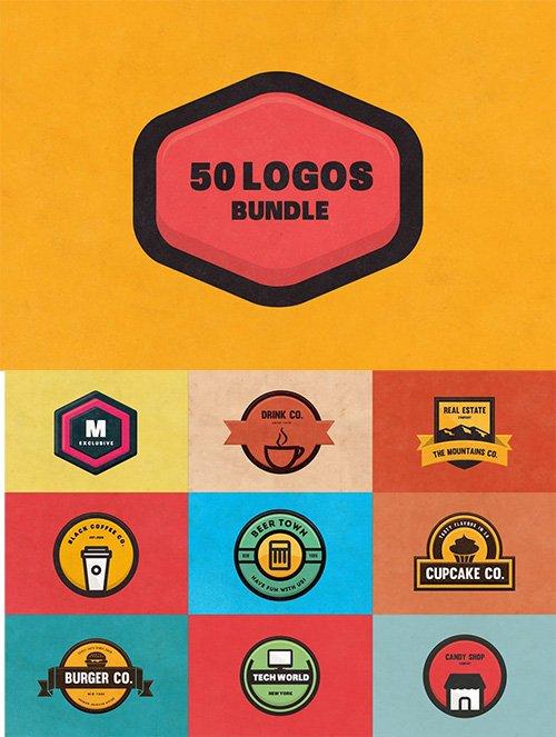 50 Modern and Flat Design Logos & Badges