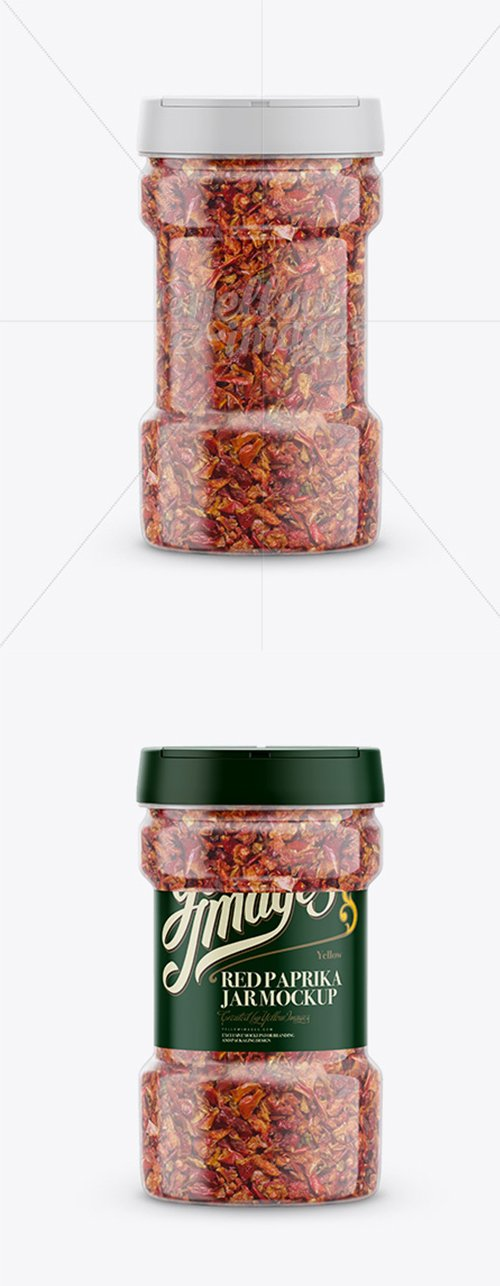Round Plastic Spice Jar with Red Paprika Mockup - Front View 15335 TIF
