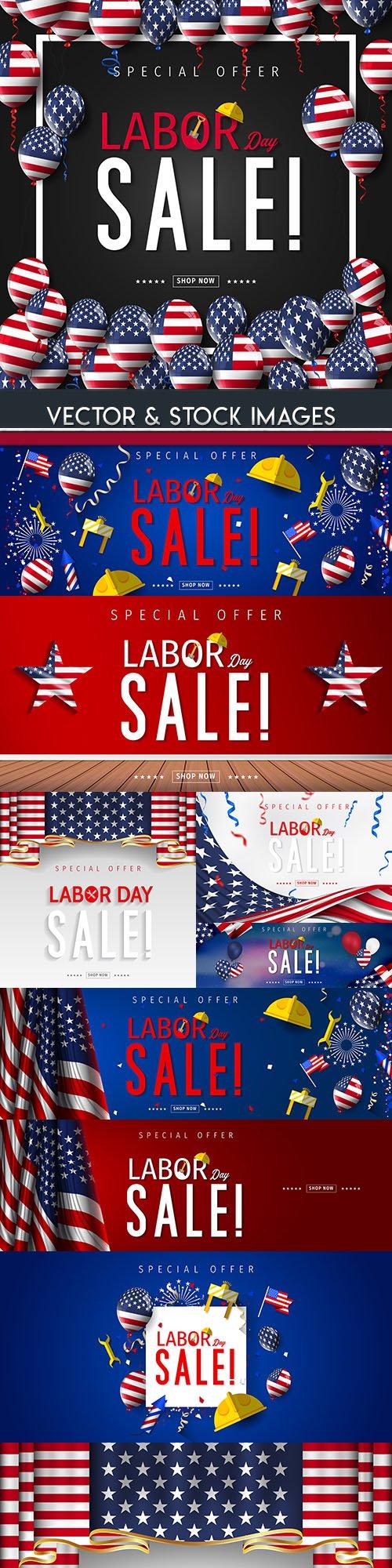 Labor Day sale illustration design collection