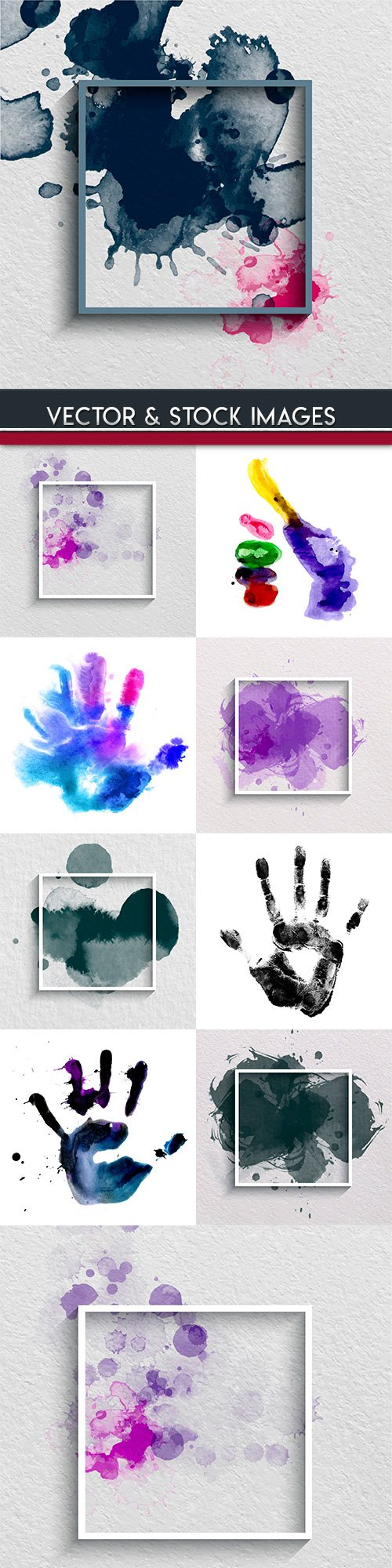 Watercolor splashes and prints hands banner design
