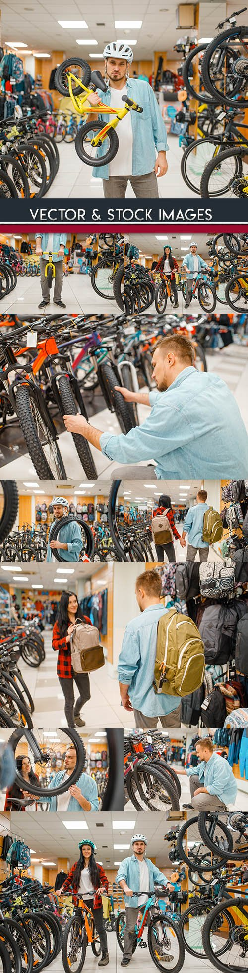Cycle shop purchase of bicycle and accessories