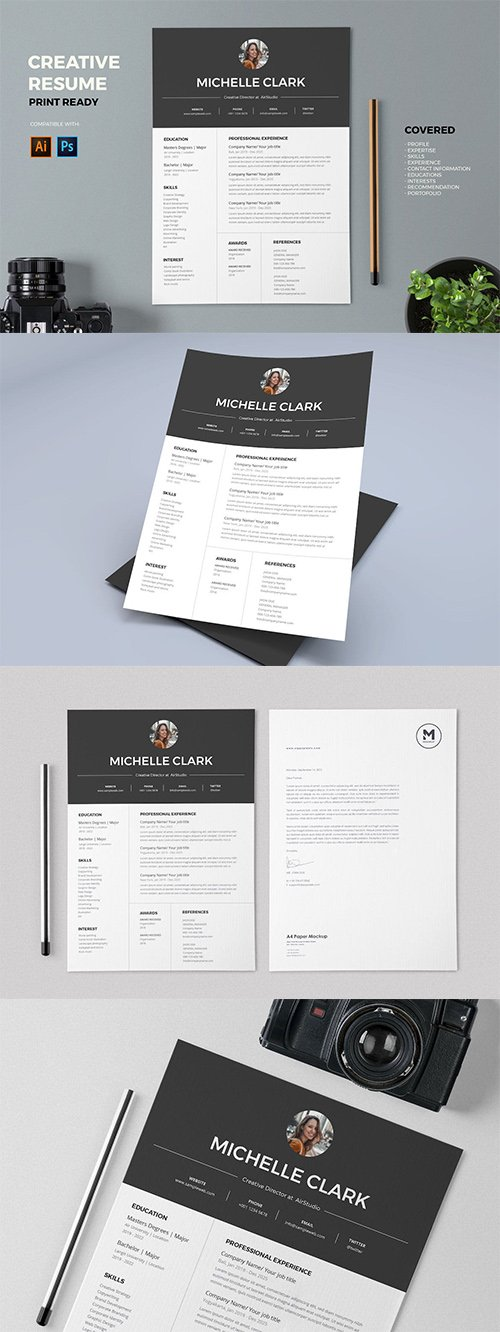 Resume / CV PSD and AI Template Pro