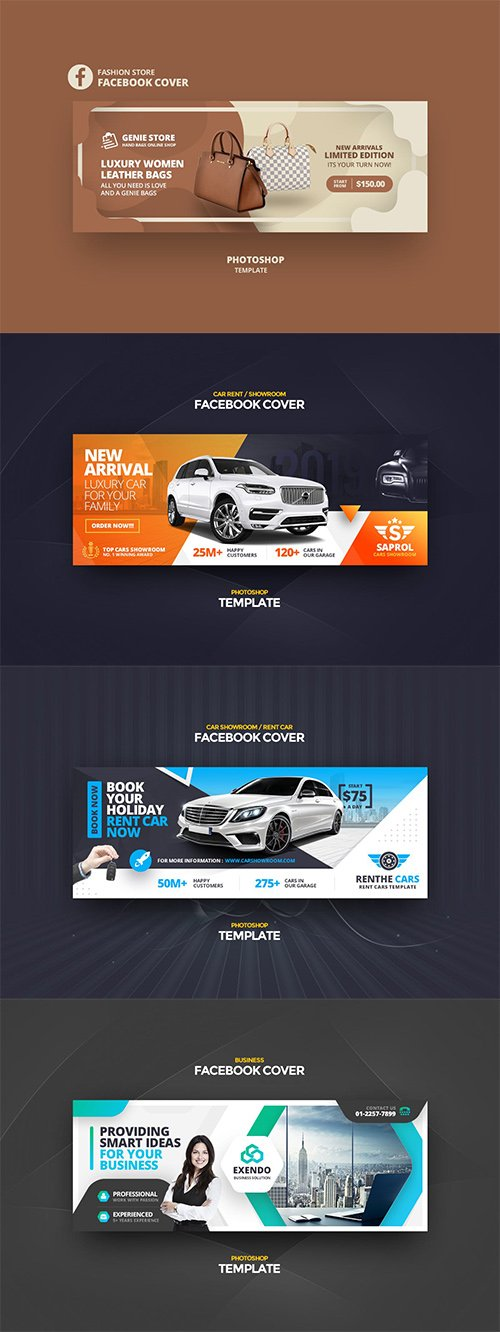 Facebook Cover Photoshop Psd Template Set Vol3 Nitrogfx