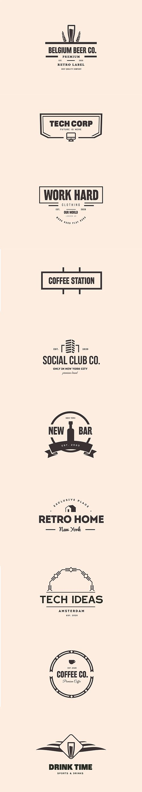 Business, Bar and Restaurant Logo PSD and Vector Set
