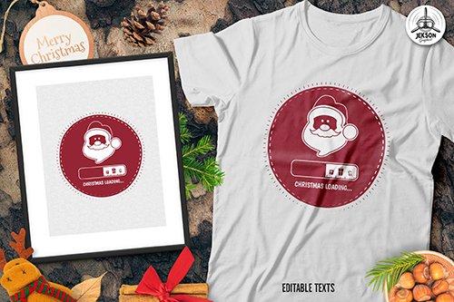 Christmas Loading Santa T-Shirt, Xmas Retro Tee Template