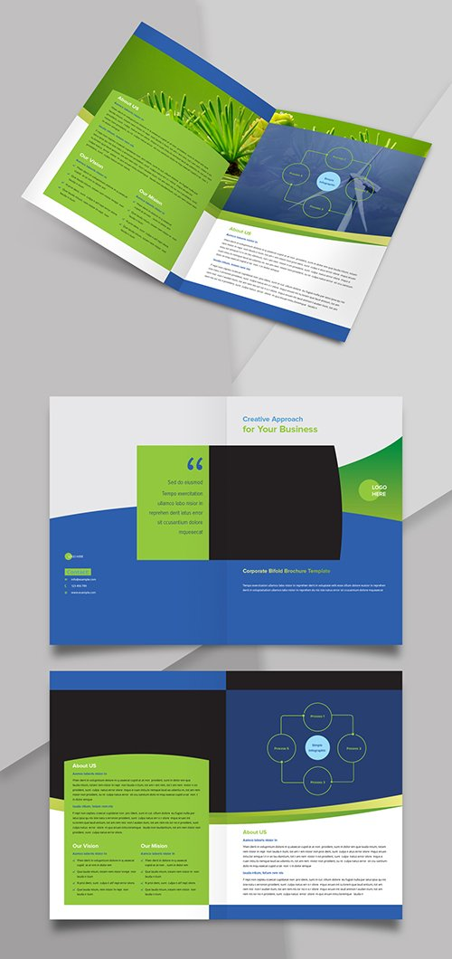 Bifold Brochure Layout with Blue and Green Accents 244082903 INDT