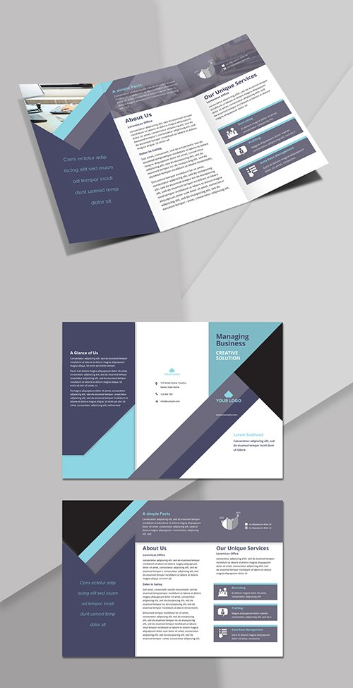 Trifold Brochure Layout with Light and Dark Blue Accents 244082935 INDT