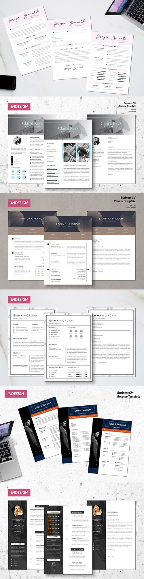 Creative and Marketing CV Resume Indesign Template Set