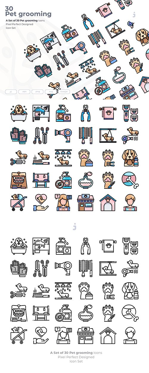 30 Pet grooming Vector Icons