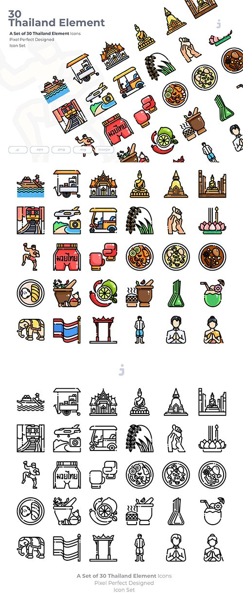 30 Thailand Element Vector Icons