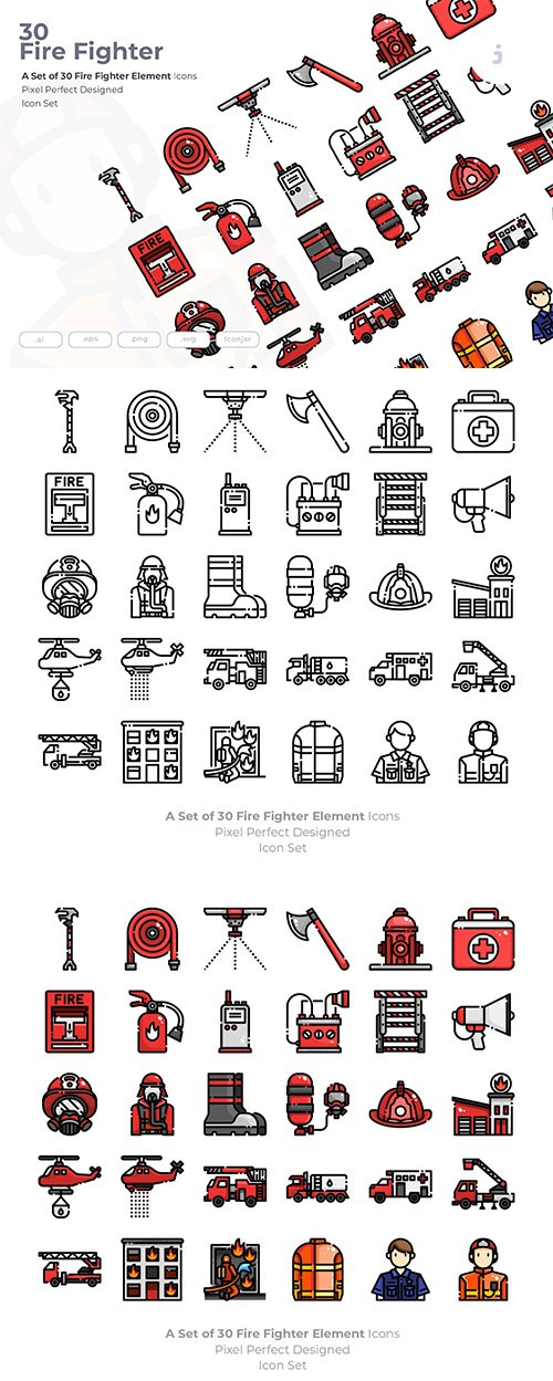 30 Fire Fighter Vector Icons