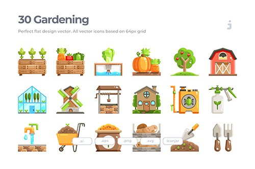30 Farming and Gardening Vector Icons - Flat