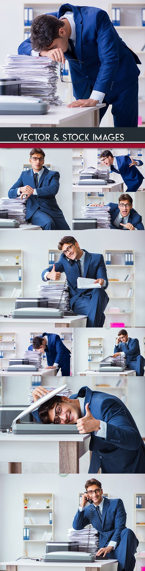 Business head at office behind copying of documents