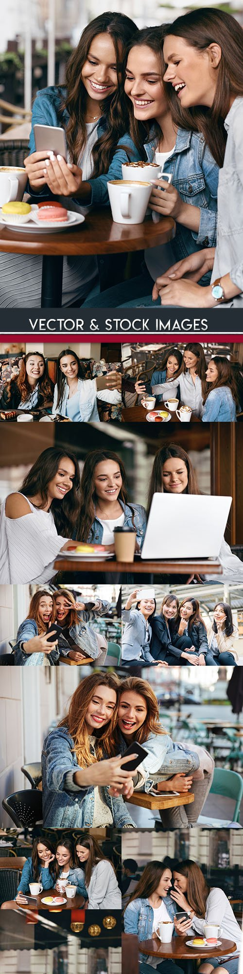 Happy girls of girlfriend in cafe for coffee