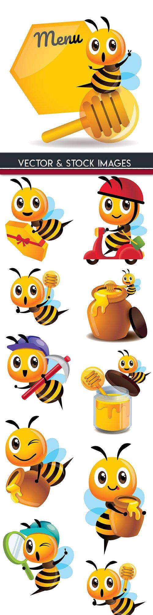 Amusing bee with honey cartoon an illustration