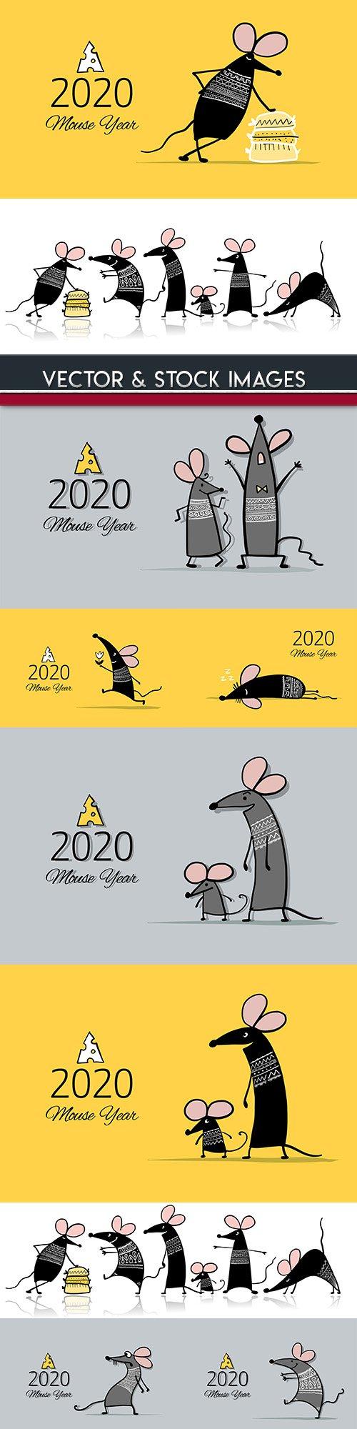 White rat symbol of New Year 2020 funny cartoon