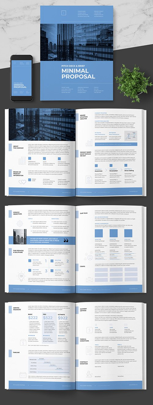 INDT Brief Pitching Proposal Layout with Blue Accents 242506893