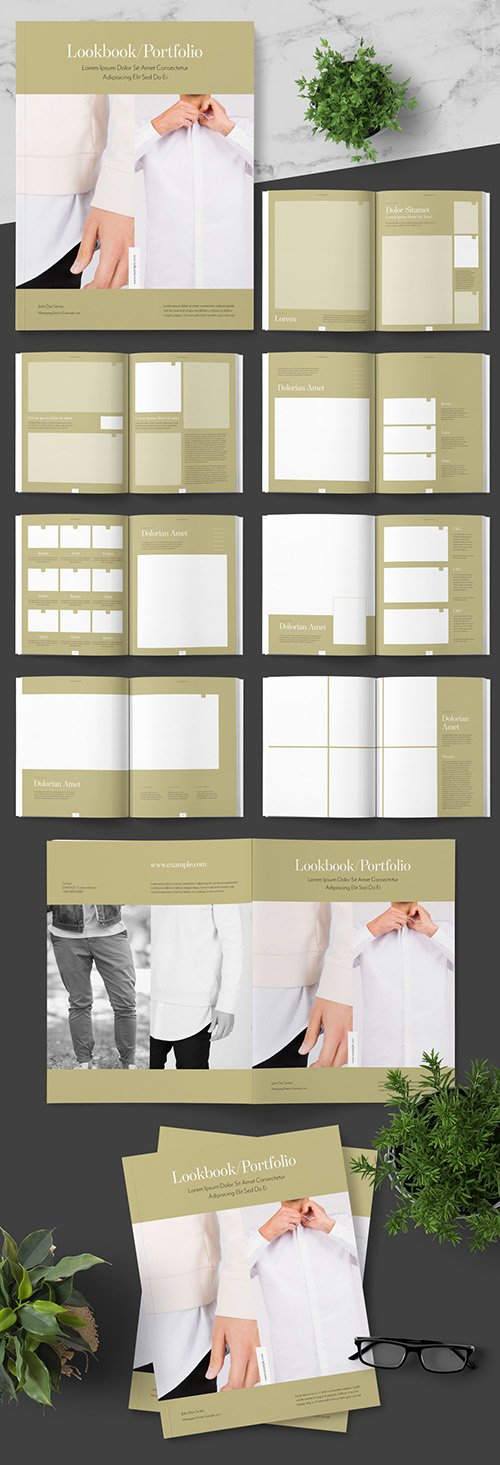 INDT Lookbook Photo Portfolio Layout with Gold Accents 242748176