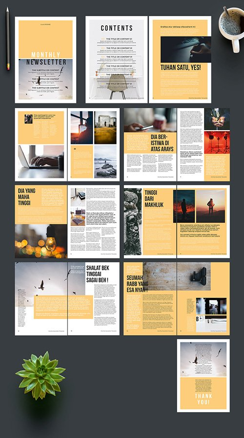 INDT Newsletter Layout With Yellow Accent 242713789