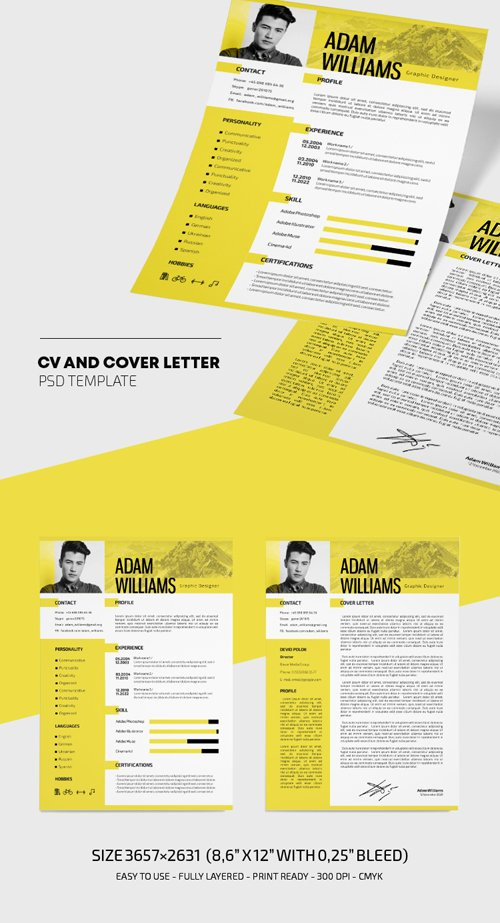 CV and Cover Letter Resume Template in PSD